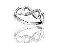Серебряное родированное кольцо с цирконием Бесконечность к0442