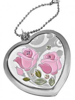 Романтичное карманное зеркальце на цепочке  Jardin D'ete 98-0836, серебристый