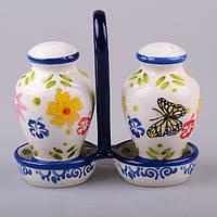 """Набор для специй 2 предмета на подставке 13 см. """"Цветы и бабочки"""" керамика, синий"""