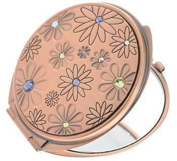 Косметическое карманное зеркальце Цветочная поляна Jardin D'ete 98-0962, розовое золото