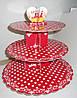 Подставка для маффинов 3-х ярусная картон красный горошек (04703)