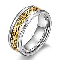 Мужское вольфрамовое кольцо с золотым кельтским драконом 22 размера.