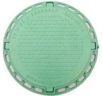 Канализационный пластмассовый люк. Тип: садовый (до 1 т). Зеленый.