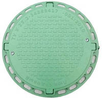 Люк полимерный круглый садовый (1т) зеленый с замком