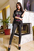 Стильные черные женские джеггинсы с высокой талией дайвинг