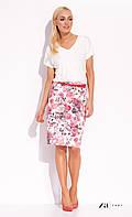 Женская летняя юбка-карандаш белого цвета с цветочным принтом. Модель Silena Zaps, коллекция весна-лето 2016.