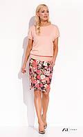 Женская летняя юбка-карандаш черного цвета с цветочным принтом. Модель Silena Zaps, коллекция весна-лето 2016.