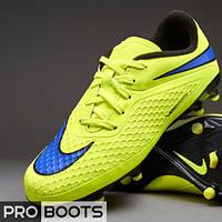 Детские футбольные бутсы Nike Hypervenom Phelon FG Junior Volt/Persian Violet/Hot Lava/Black