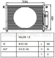 Конденсатор кондиционера Chevrolet AVEO (производство Parts-Mall ), код запчасти: PXNCC-019