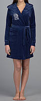 Женский велюровый халат с капюшоном короткий синий