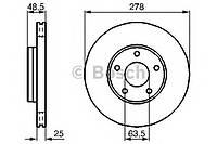 Гальмівний диск ford volvo focus ii 04, focus c-max 04, kuga 08, volvo c30 ,c70,s40, v50 f (производство Bosch ), код запчасти: 0986479173