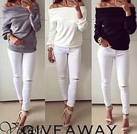 Модные джинсы женские белые