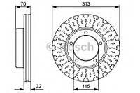 Гальмівний диск toyota land cruiser 100 4,2td-4,7 98- f (производство Bosch ), код запчасти: 0986479567