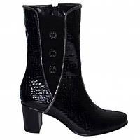 """Женские зимние ботинки на невысоком каблуке, натуральная кожа """"крокодил"""" и замш., фото 1"""