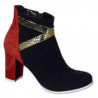 Женские ботинки на высоком каблуке, натуральный замш. Зимний вариант., фото 1