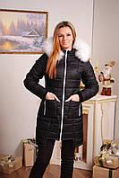 Пальто стеганное зима черное