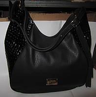 Черная женская сумка лаковые вставки