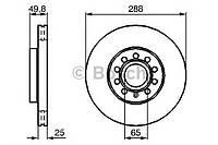 Диск тормозной Seat Toledo, Skoda YETI, VW Golf 6 вент. (производство Bosch ), код запчасти: 0986479088
