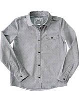 Блуза для девочки с длинным рукавом, серая, меланжевая ткань в черно-белую точку, BOGI (Божи)