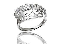 Серебряное родированное кольцо Капли с цирконием к00132