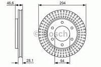 Гальмівний диск mitsubishi l200 kb, pajero sport kh f (производство Bosch ), код запчасти: 0986479704