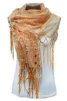 Нарядный шарф c пайетками персик