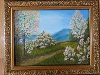 Картина маслом на холсте Яблони в цвету 30х40 в исполнение десятилетней девочки