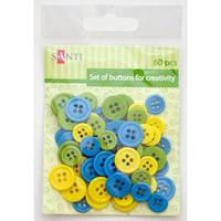 Набор пуговиц для творчества, пластик, 11мм и 14мм, 3 цв., 60шт./уп., сине-желтый 951965