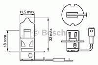 Лампа h3 55w 12v longlife daytime картон (производство Bosch ), код запчасти: 1987302038