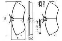 Гальмівні колодки дискові citroen jumper 1.9,2.5diesel/fiat ducato 18,4x4 2.5,2.8td/peugeot boxer 2 (производство Bosch ), код запчасти: 0986424031