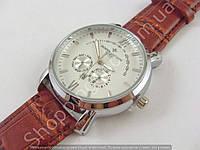 Мужские часы Vacheron Constantin 8611-3 серебристые с белым циферблатом на коричневом ремешке календарь