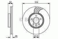 Гальмівний диск volvo/land rover freelander,s60,s80,v70,xc70 2,0-3,2 06- f (производство Bosch ), код запчасти: 0986479620