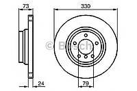 """Гальмівний диск bmw 1(81;87;88;82)/3(90-94)/x1 330mm f """"05 (производство Bosch ), код запчасти: 0986479215"""