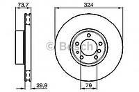 """Гальмівний диск bmw 5 (e39) """"f d=324mm """"97-04 (производство Bosch ), код запчасти: 0986478024"""