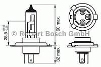 Лампа фарная АКГ 12-60+55 ВАЗ галоген. H4 ближний, дальний свет (производство Bosch ), код запчасти: 1987302042
