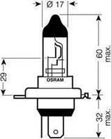 Лампа накаливания, фара дальнего света (производство Osram ), код запчасти: 64196TSP