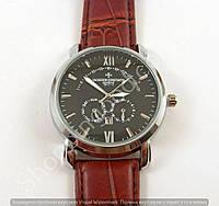 Мужские часы Vacheron Constantin 8611-3 серебристые с черным циферблатом на коричневом ремешке календарь