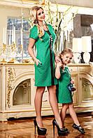 Модное детское платье туника из жаккарда с лазерной обработкой, вставки эко-кожи, для мамы и дочки