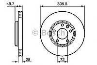 Диск тормозной Nissan, Opel, Renault, передний вентилируемый (производство Bosch ), код запчасти: 0986479078