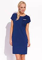 Женское трикотажное платье с коротким рукавом синего цвета. Модель Kerri Zaps, коллекция весна-лето 2016.
