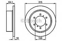 """Гальмівний диск mitsubishi l400/pajero """"r """"09 (производство Bosch ), код запчасти: 0986478713"""
