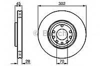 """Гальмівний диск opel/saab vectrac/9-3 f """"02 (производство Bosch ), код запчасти: 0986479076"""