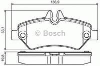 Гальмівні колодки дискові pr2 mb/vw sprinter/crafter 06'' (производство Bosch ), код запчасти: 0986495100