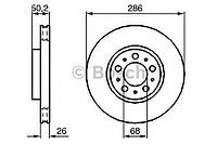 Гальмівний диск volvo s60, s80 i, v70 ii , xc70 i f (производство Bosch ), код запчасти: 0986479210