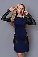 Стильное платье с отделкой из кожи р44