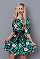 Стильное платье с поясом из кожзама
