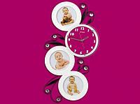 Часы настенные Круглая змейка на 3 фото белые