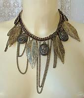 Ожерелье женское колье модное с подвесками металл ювелирная бижутерия 5452