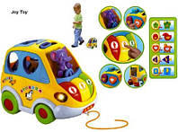 "Муз разв.игрушка ""Автошка"" 9198 (896) батар., сортер-каталочка, 5 фигур,звуки,в кор. 22*14см"