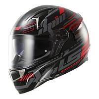 Шлем LS2 TRON BLACK RED с подкачкой щек и очками размер ХL